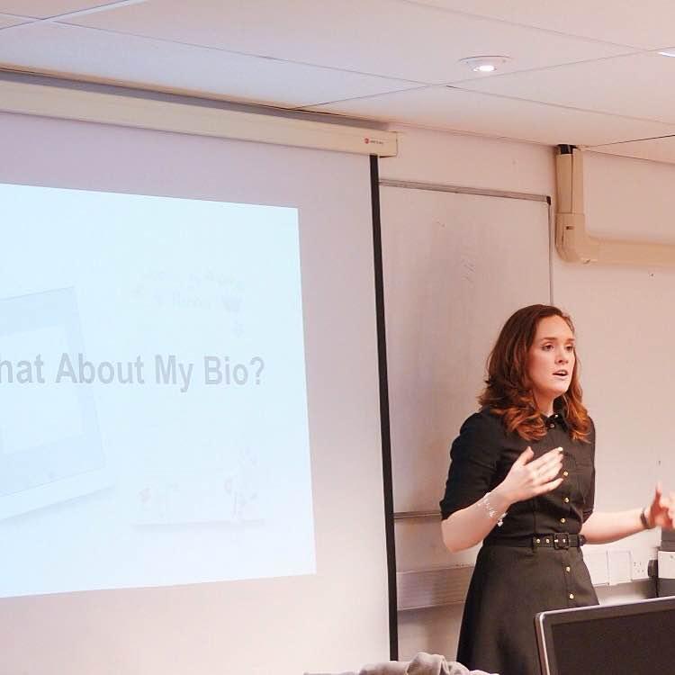 A shot of me speaking during my Personal Branding workshop at Lancaster University
