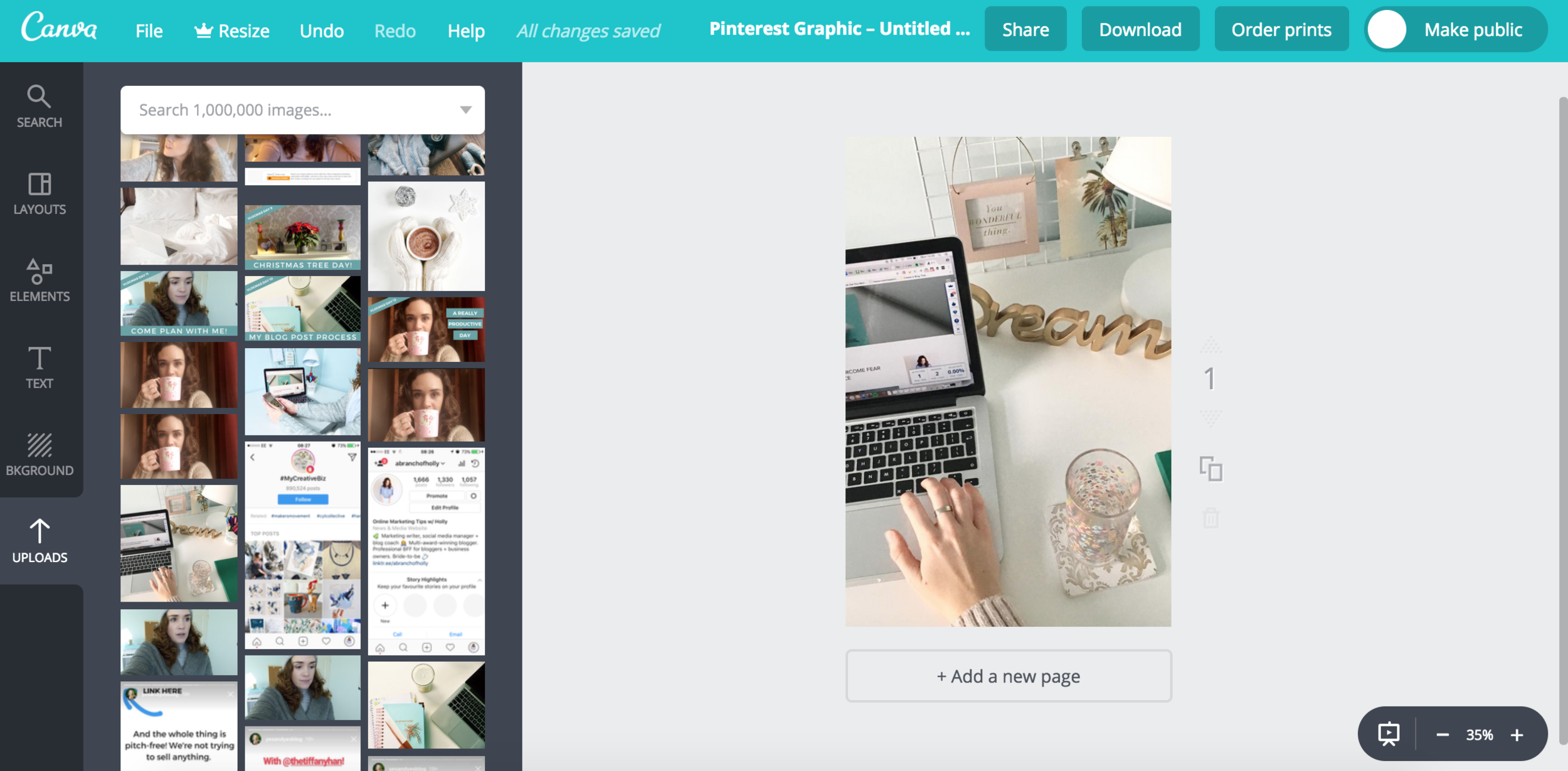how to blog - create a pinnable image in canva