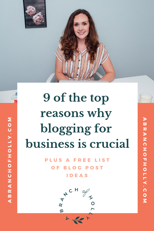 Are you implementing blogging for your business? In this post, I'll share some of the biggest benefits of blogging for business, including why it's so important in entrepreneurship and some social media tips to make the most out of your content. Repin and get access to a free list of 47 blog post ideas to help you start blogging for business today! #bloggingforbusiness #entrepreneurship #socialmedia