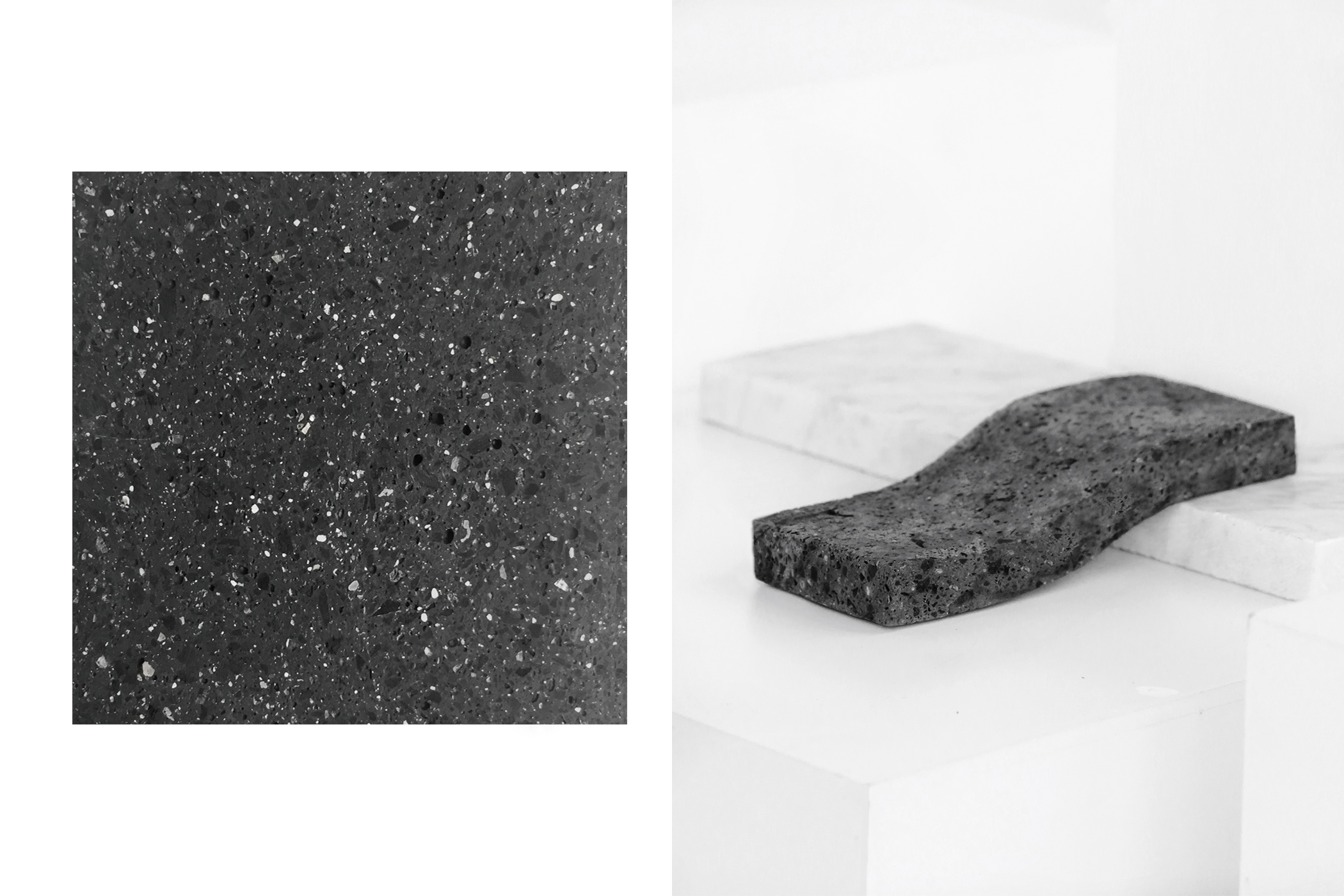 "Inspired by the emblematic basaltic stone, better known as ""lava stone"", we developed MAGMA 04 ®; A liquid stone material that enhances and defies the nature of stone.  This beautiful material looks and feels the same as lava stone. The formula is conceived in a semi-liquid state allowing the material to be casted in a mold to create complex, precise and fast production products. After casted you can cut it, perforate it and engrave it.  MAGMA 04® is an adaptable and evolving material. The formula adapts to the specifications needed by a product and industry. Applications include architecture (interiors and exterior tiles and mosaics) furniture, products and decor and others to discover."