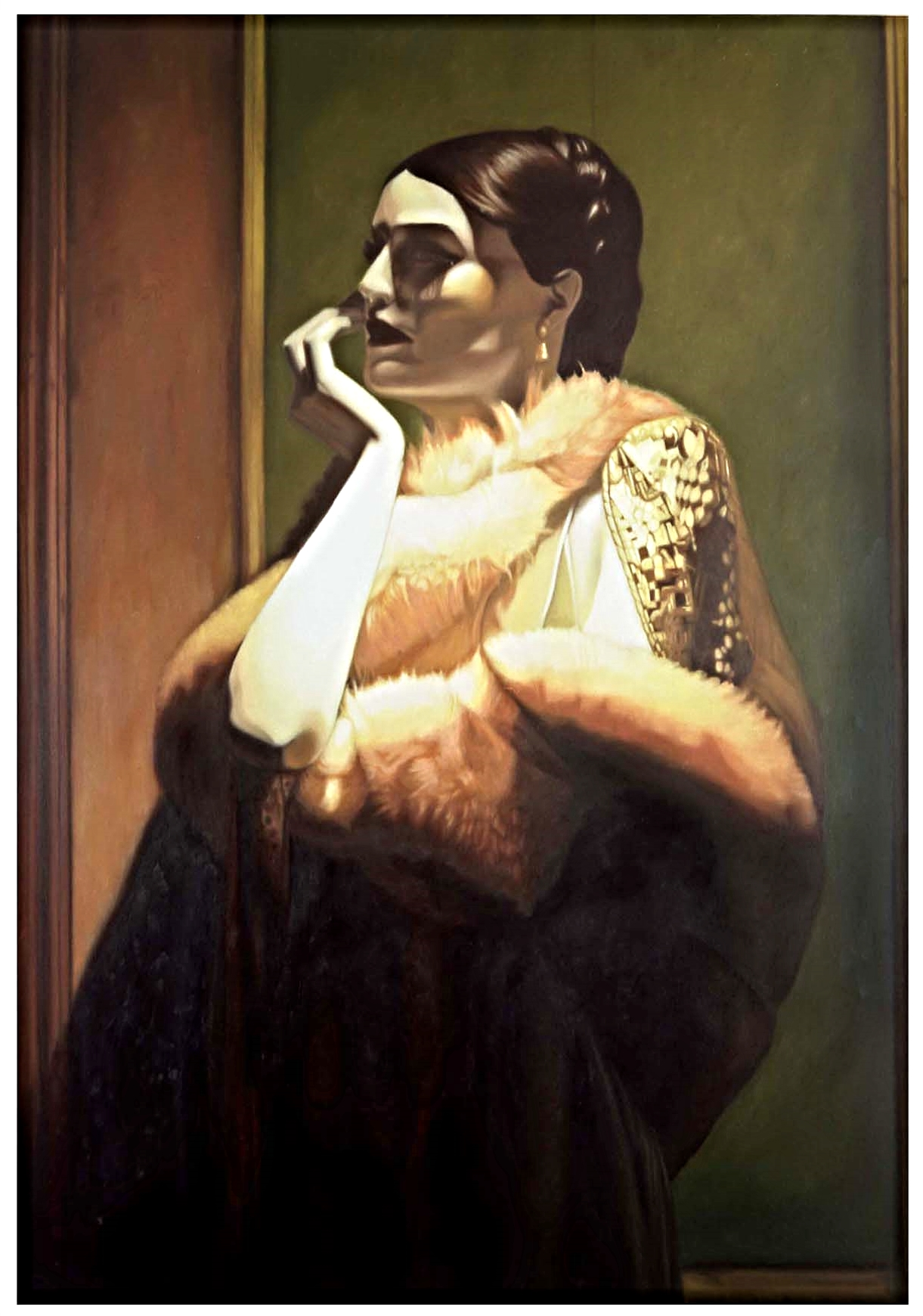 """Angelina in """" The Golden Shawl""""  Oil On Canvas - 60 x 40in - 2003"""