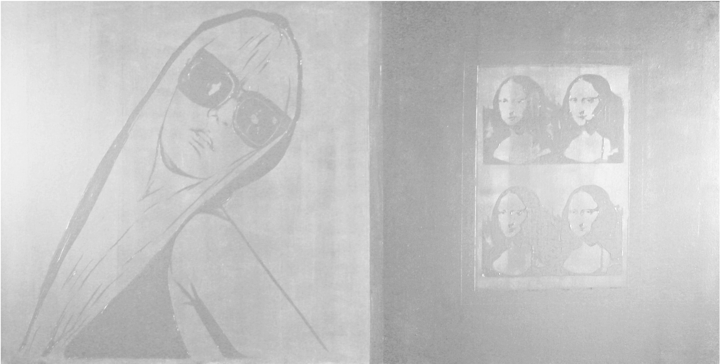 Aluminum Diptych  Industrial Paint on Canvas - 39 x 79in - 2011