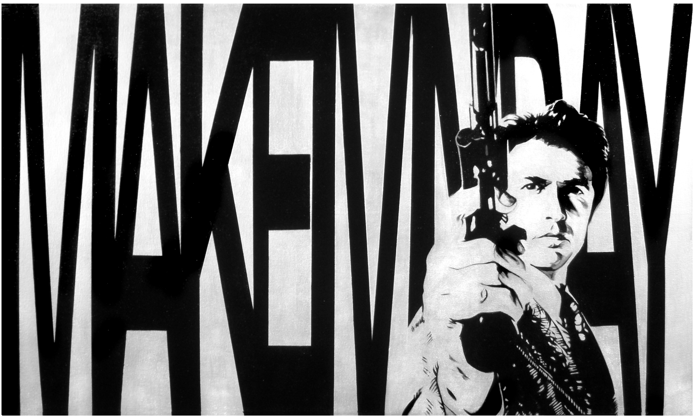 Make My Day  Industrial Paint on Canvas - 36 x 60in - 2011