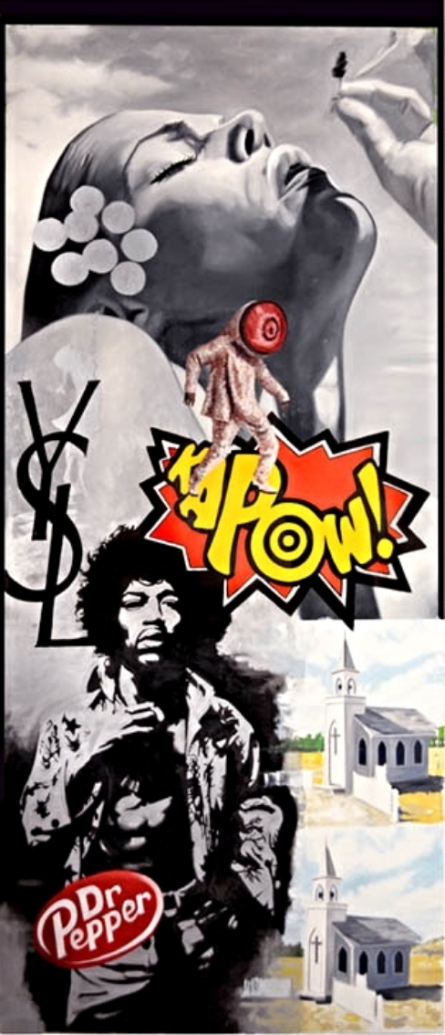 Kapow!  Oil On Vinyl Magnet - 76 x 33in - 2012                                   SOLD