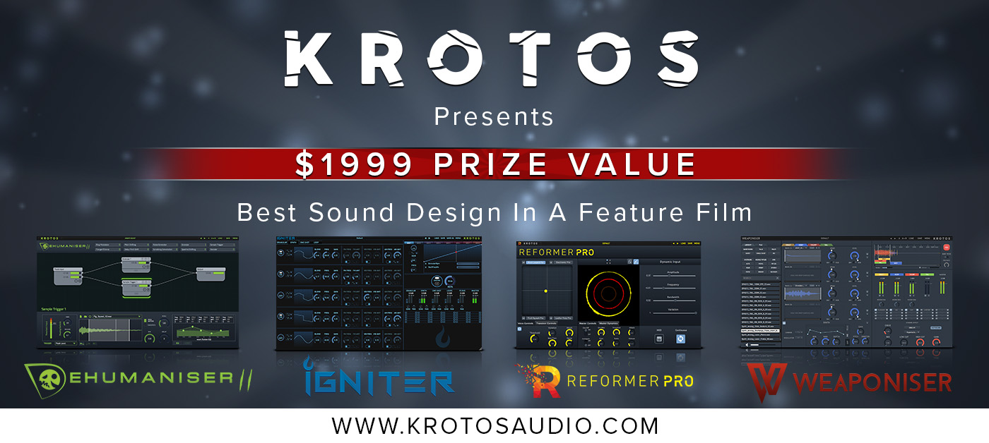 As part of their 2019 Music & Sound Awards sponsorship, Krotos Audio are giving the winner of Best Sound Design in a Feature Film $1999 worth of their unique and innovative plugins - Dehumaniser for making monster and creature sounds, Igniter for vehicle sounds, Reformer Pro for performing any library of sound effects in real-time, and Weaponiser Fully Loaded for creating your own weapon sounds.