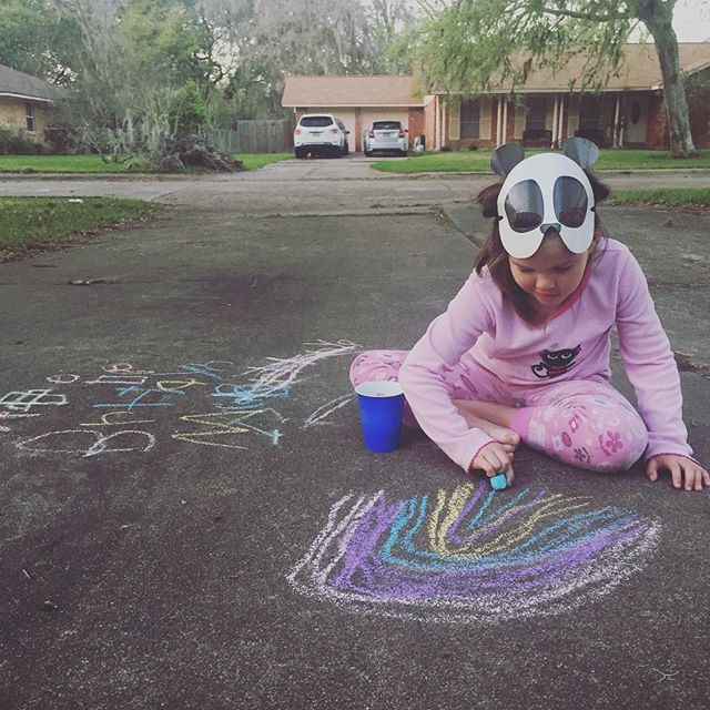 There's a panda in pajamas drawing a rainbow in my driveway. 🌈 #katiefart