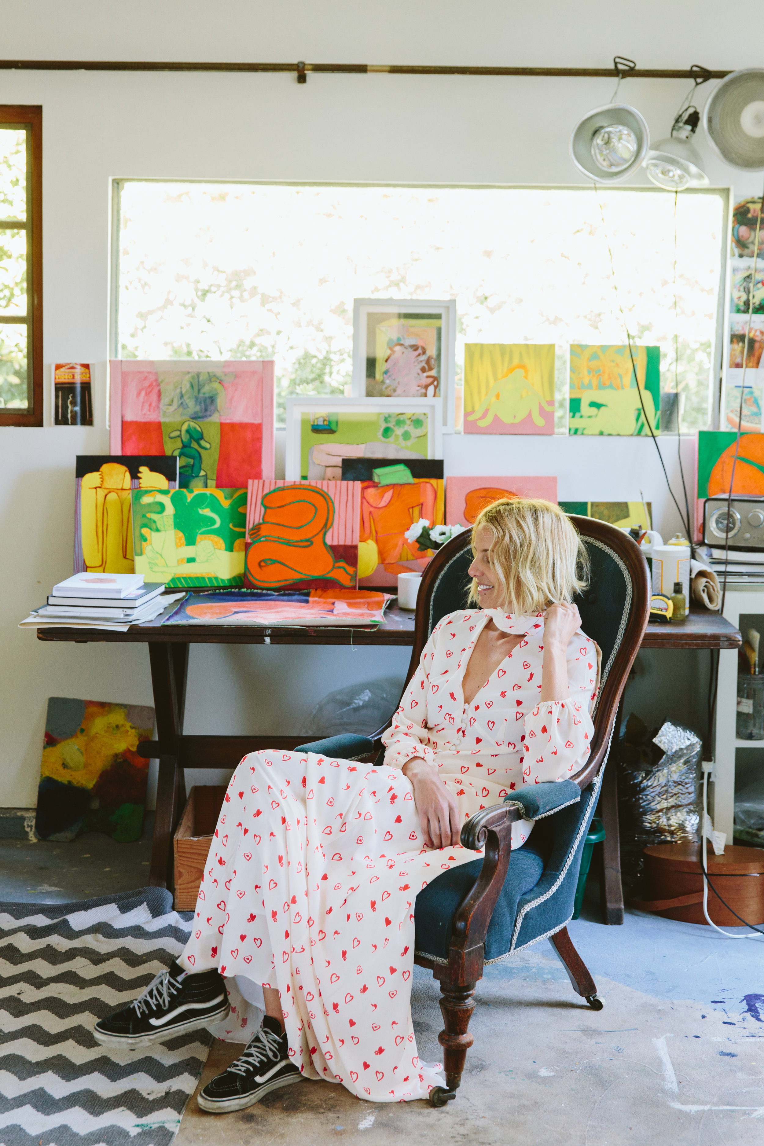 LA based artist  Tahnee Lonsdale , captured in the  Stella Maxi  at her home studio for our  SS19 campaign.