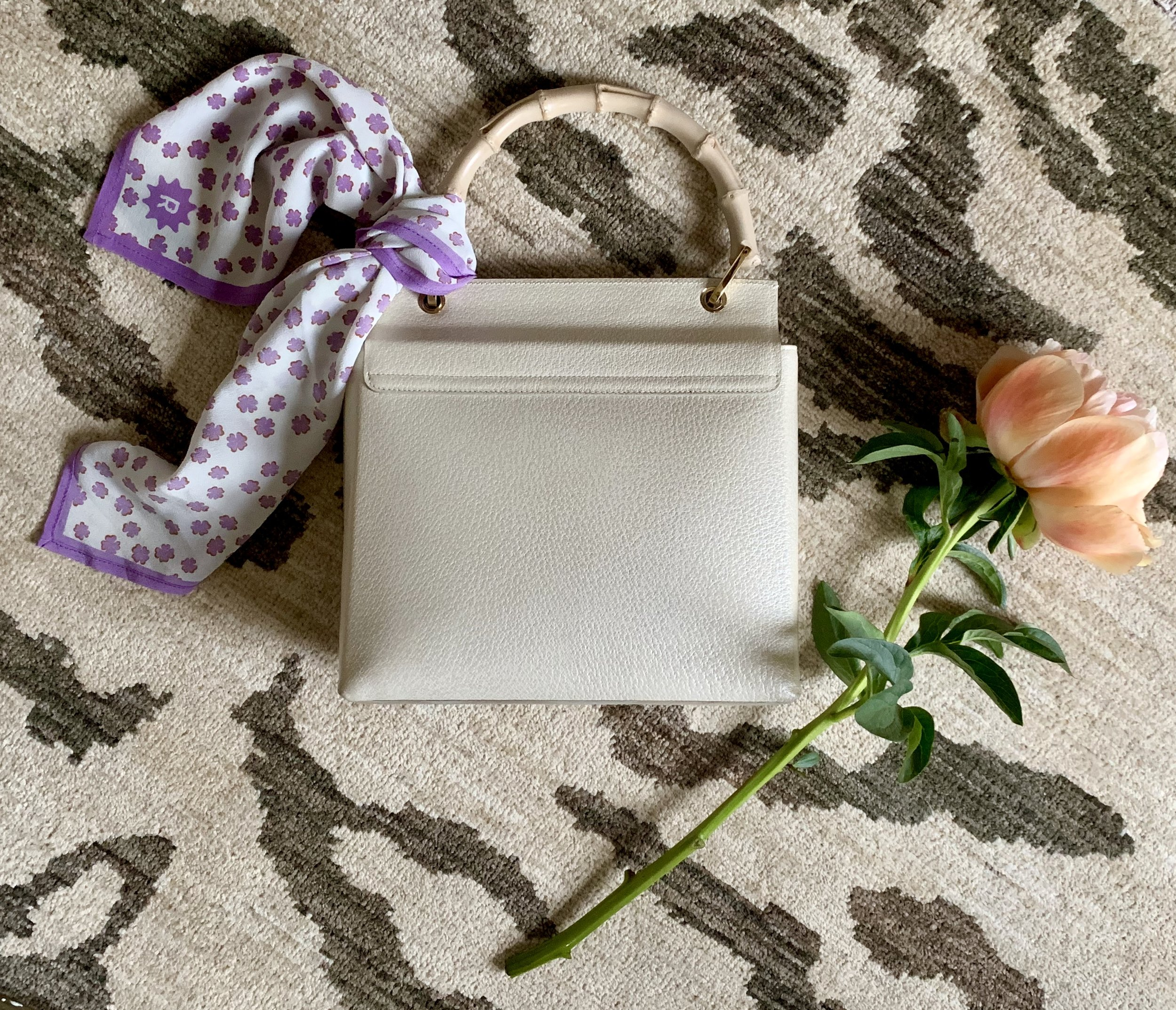 RADISH Lucky Clover silk scarf  and vintage bambo handle handbag from at selection at Laura von Behr Vintage.