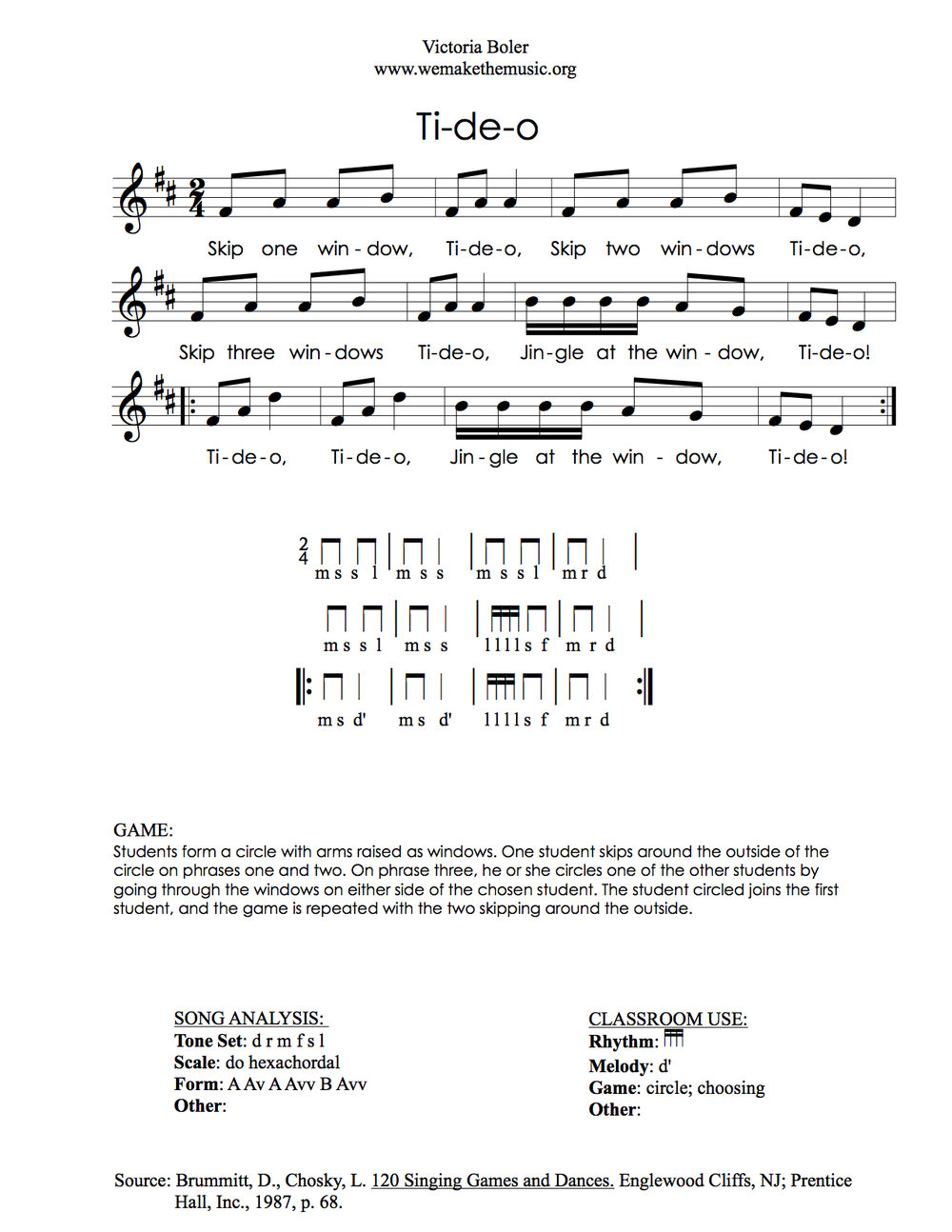 Songs to Teach 16th Notes Tideo