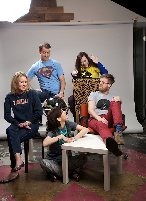 { Our marketing team's Olan Mills themed photo shoot. Aren't we hot? The more awkward the better. }