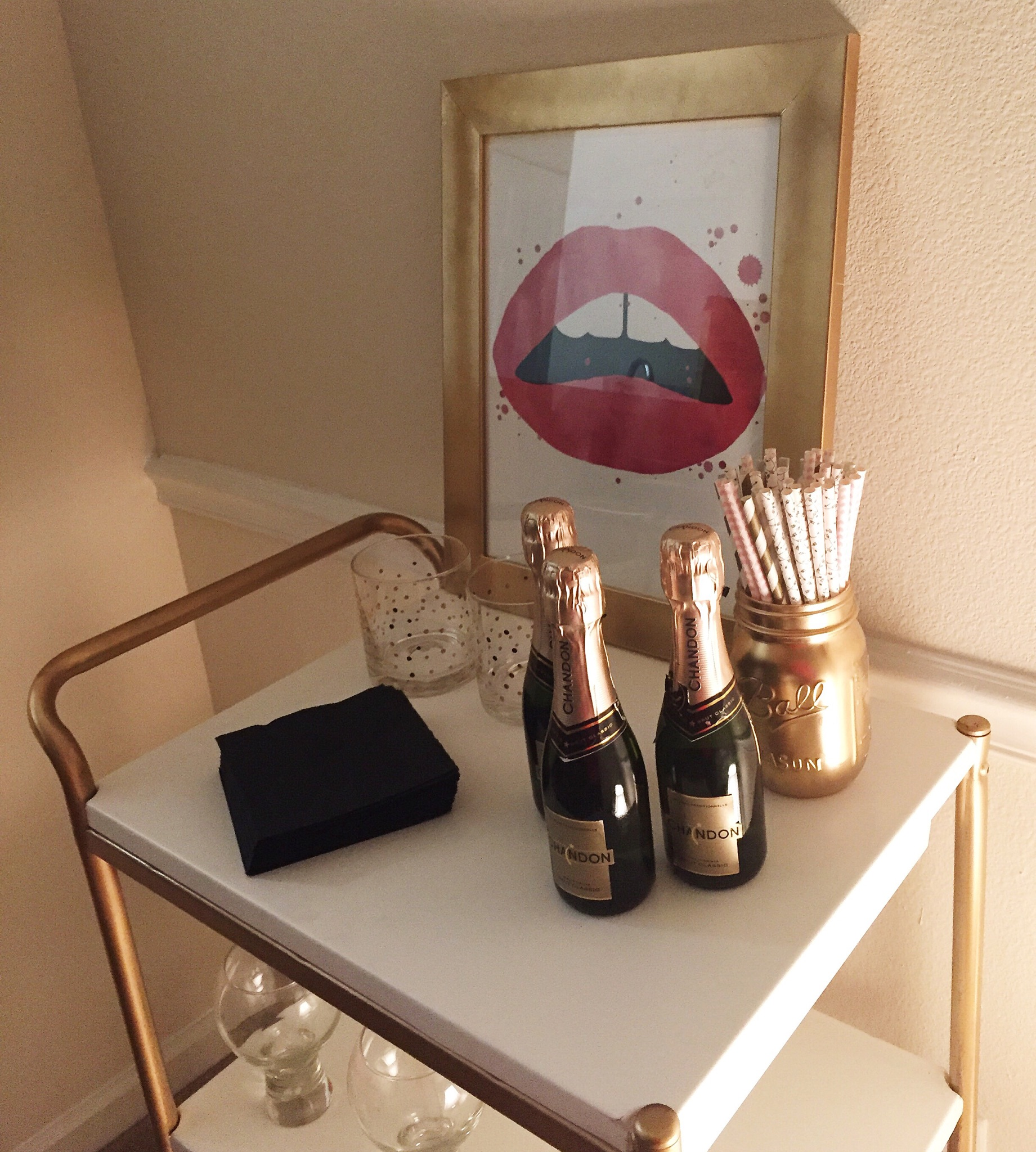 { My DIY gold bar cart. Don't worry a tutorial is coming oh-so soon! }
