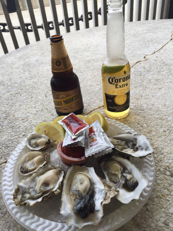 { Fresh oysters at Redondo Beach. Corona and Negra Modelo were necessary. }