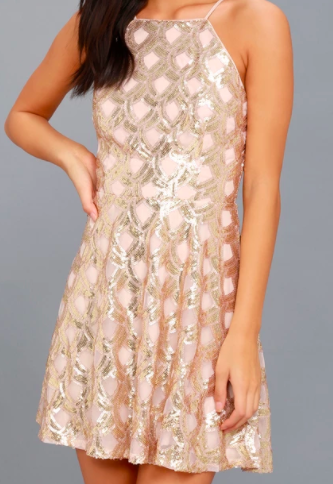 2. Rose Gold Sequin Holiday Dress  You're gonna love the back on this stunner!