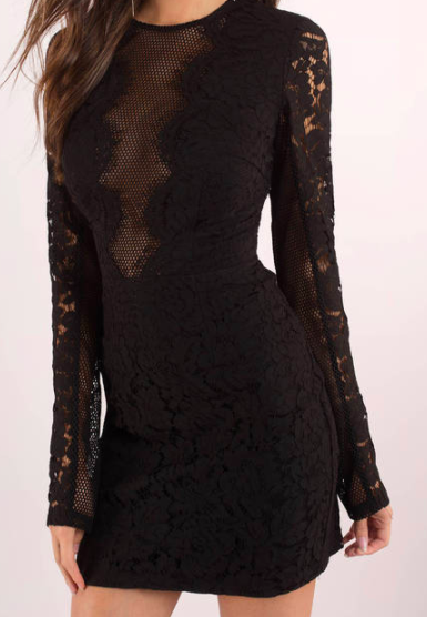 5. Black Lace Bodycon  I love the hint of skin on the low v-neck