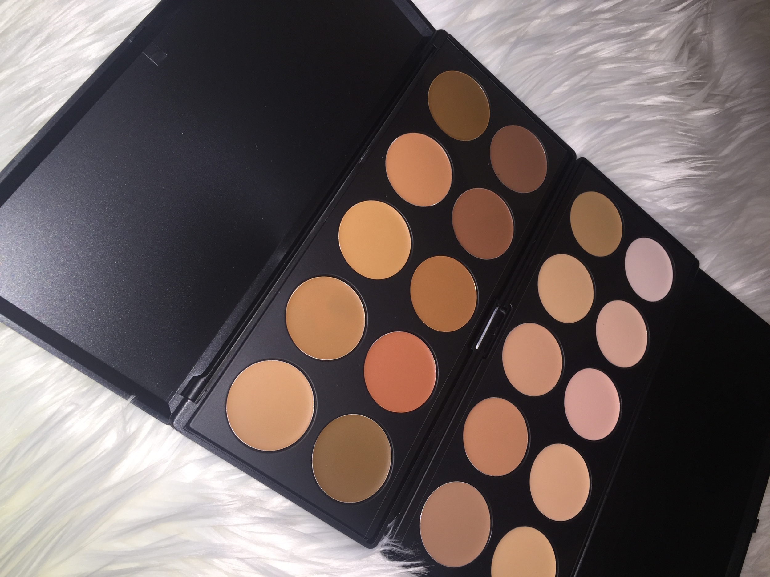Right: BH Cosmetics Foundation & Concealer 1 10 Color Palette; Left: BH Cosmetics Foundation & Concealer 2 10 Color Palette.