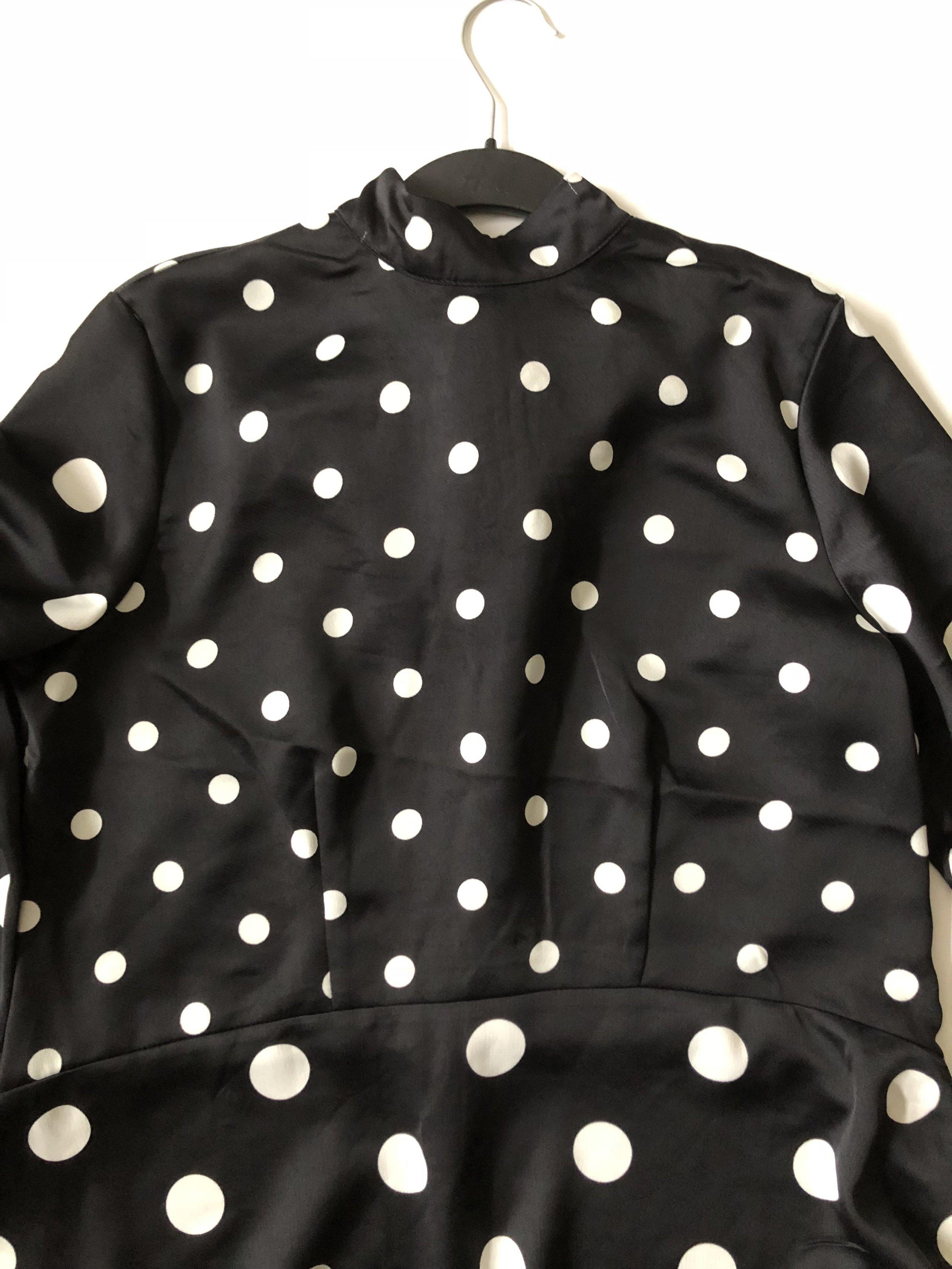 H&M polka dot silk blouse $13.00 (front), size medium.