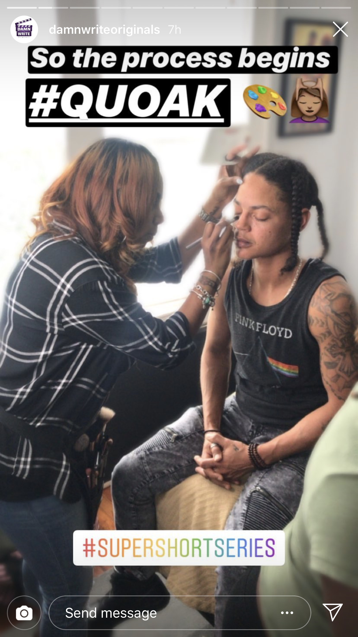Jennifer J. working on touch ups for Zita played by Miya Golden. Photo credit: Damn Write Originals.