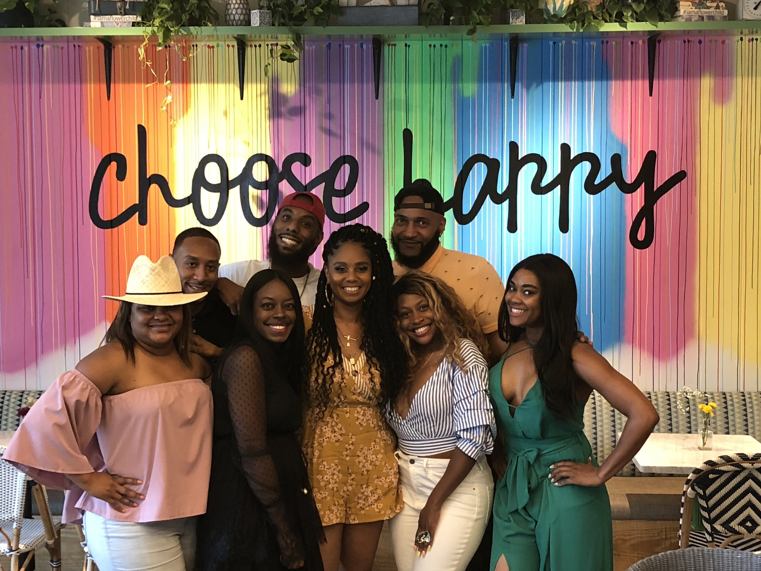 Choose Happy! Jennifer J. along with family and friends during her birthday lunch at Flower Child in Buckhead.