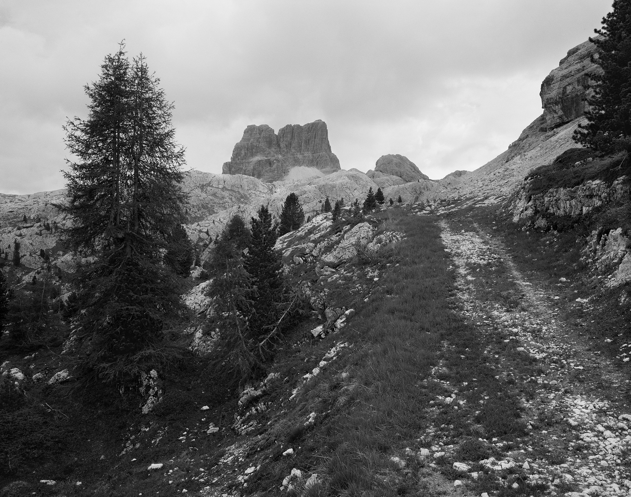 Former Austrian Military Road looking towards Monte Avenau, Dolomites