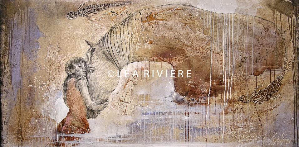 """©LéaRivière «La promesse de l'aube» 36""""x72"""" 92cmx183cm 2009"""