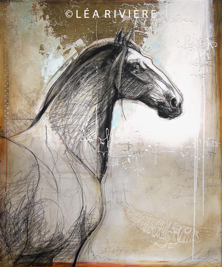 """©LéaRivière «Le cheval de la Joconde» 36""""x30"""" 92cmx76cm 2012"""