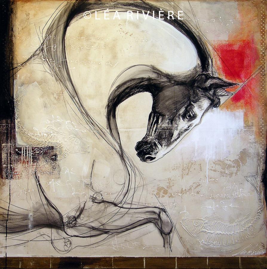 """©LéaRivière «Le coursier de Neptune» 48""""x48"""" 122cmx122cm 2012"""