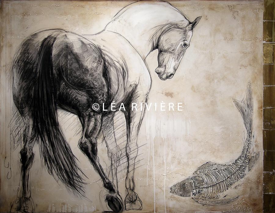 """©LéaRivière «Le cheval d'Hippocrène» 56""""x72"""" 142cmx182cm 2012"""
