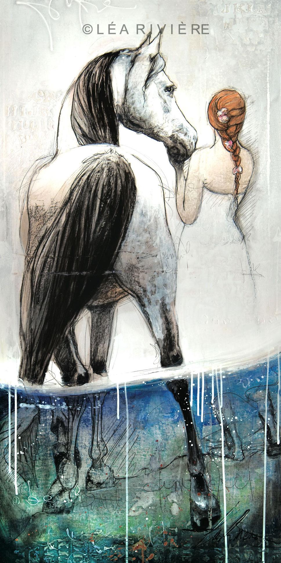 """""""Rêver les deux pieds dans l'eau""""oeuvre sur toile de Léa Rivière ."""