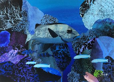 """Reef Boss  23"""" x 31"""", collage on ragboard $1400 CDN"""