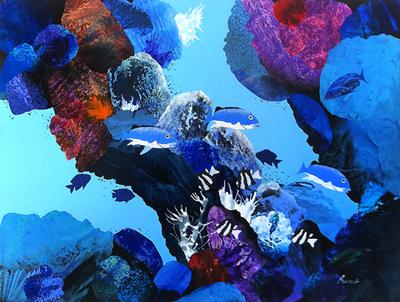 "Key Largo  30"" x 40"", collage on canvas $1700 CDN"