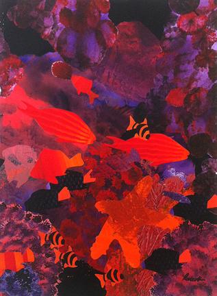 "Stars & Stripes  29"" x 21"", collage on ragboard $1200 CDN"