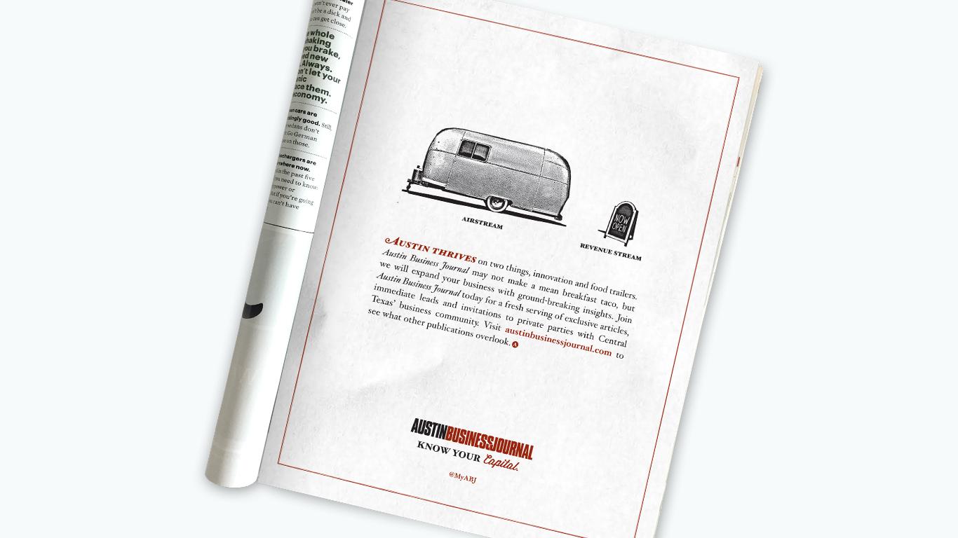 Door Number 3 Austin Business Journal Print Advertising Airstream