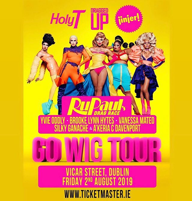 DUBLIN... Girls from Season 11 are coming. Don't miss them on Friday August 2nd in Vicar St. Yvie, Brooke Lynn, Vanjie, Silky & A'Keria all on one night. Dublin presale for two weeks for my followers at €35. After which all tickets are €40. Presale code: GOWIG19 (from this Monday at 9am)