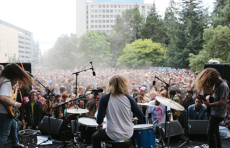 Chad Ubovich, Ty Segall, and Charles Mootheart play together as Fuzz at Burger Records's Burger Boogaloo in Oakland, July 2015.     Photo by Tyler Adams for  The Daily Californian