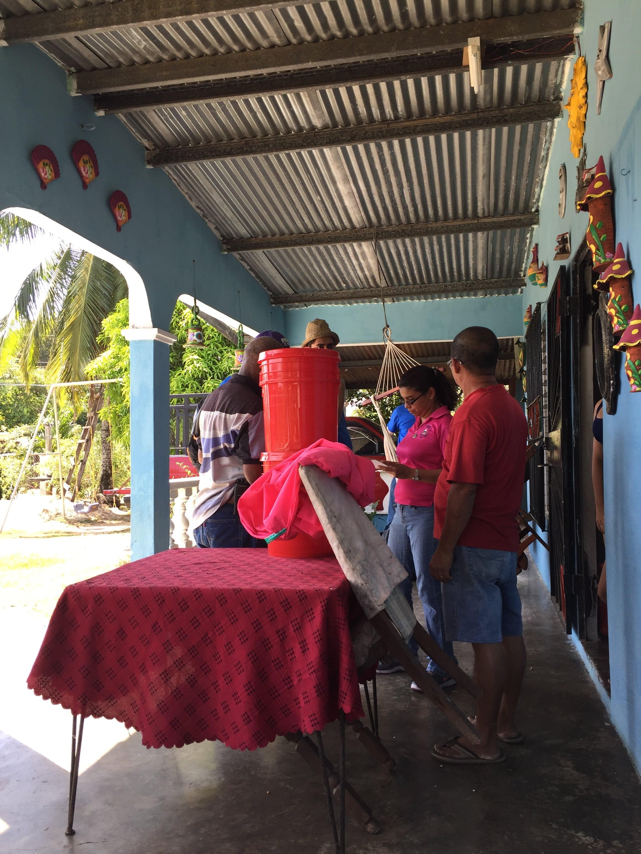 Water filter checks in Tanara community.