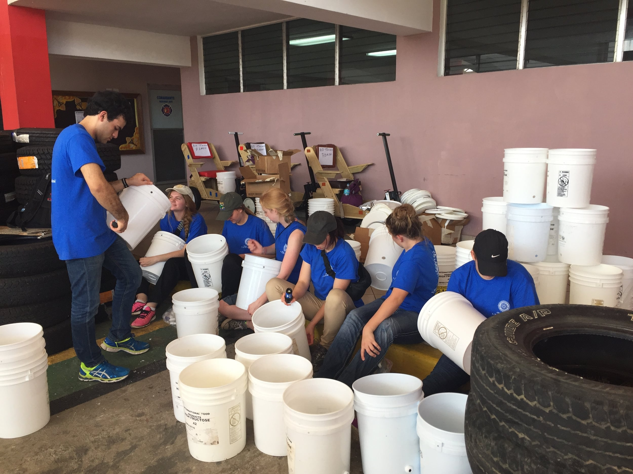 Team assembling water filters to be delivered the next day.
