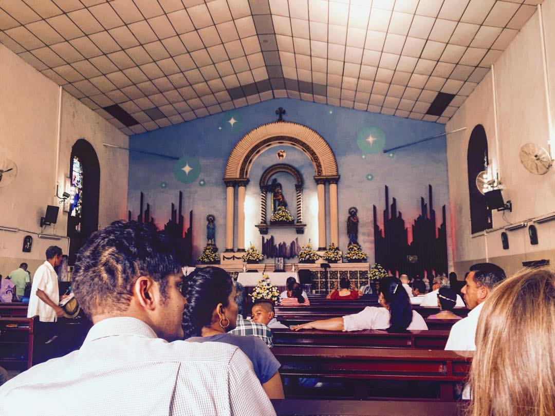 Pictured is Chenna in the church where the team attended Mass. It was lively and beautiful!
