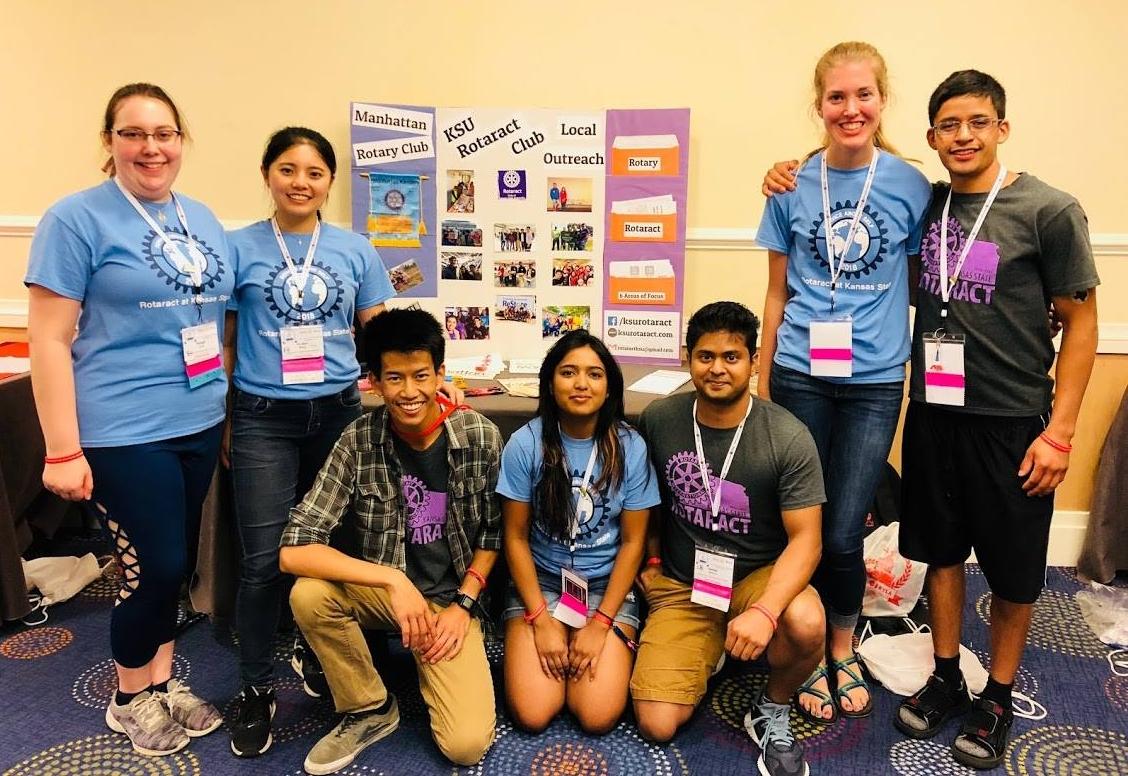 (KSU Rotaractors from left to right) Kaleigh Cobb, Demi Wang, Mac Phrommany, Meenu Mohankumar, Dishan Nahitiya, Katie Mahlmeister, and Diego Sanchez Moreno