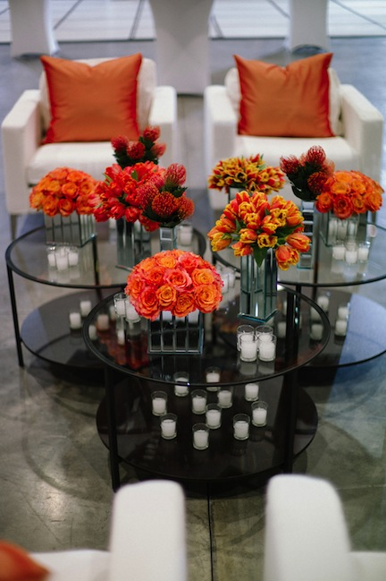 Red and orange flower arrangements