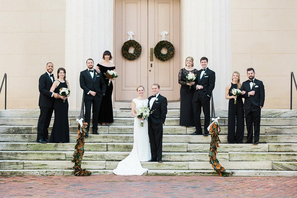 Winter wedding bridal party