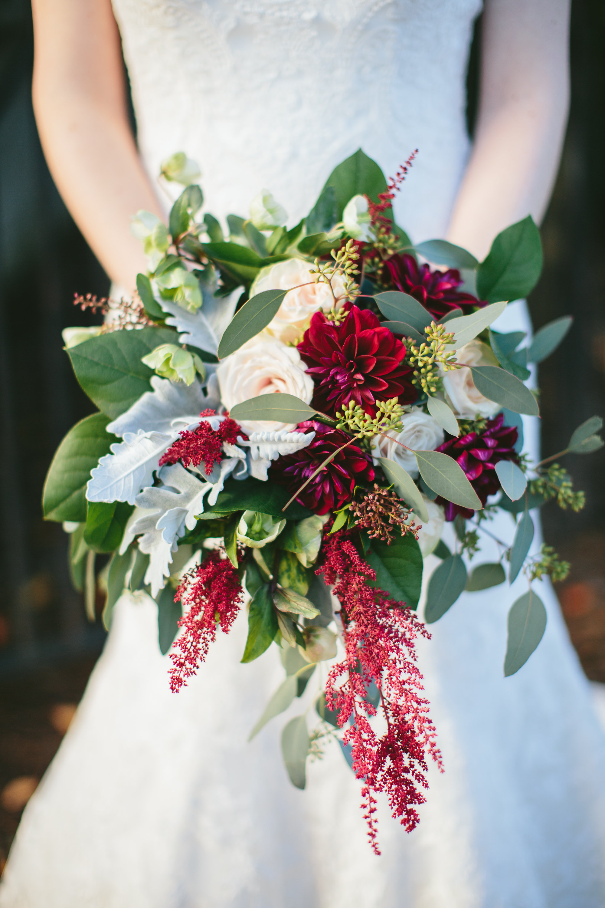 featured floral: dahlias, roses, astillbe, dusty miller, seeded eucalyptus, hellebores - Kelsey + Robert, Marion Hatcher Center, Whitney Wysong Photography