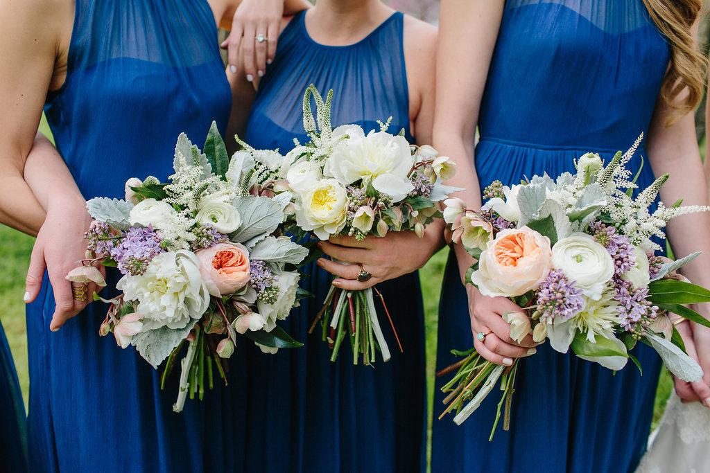 garden maids - Featured floral: lilac, garden roses, peonies, astillbe, dusty miller, hellebores