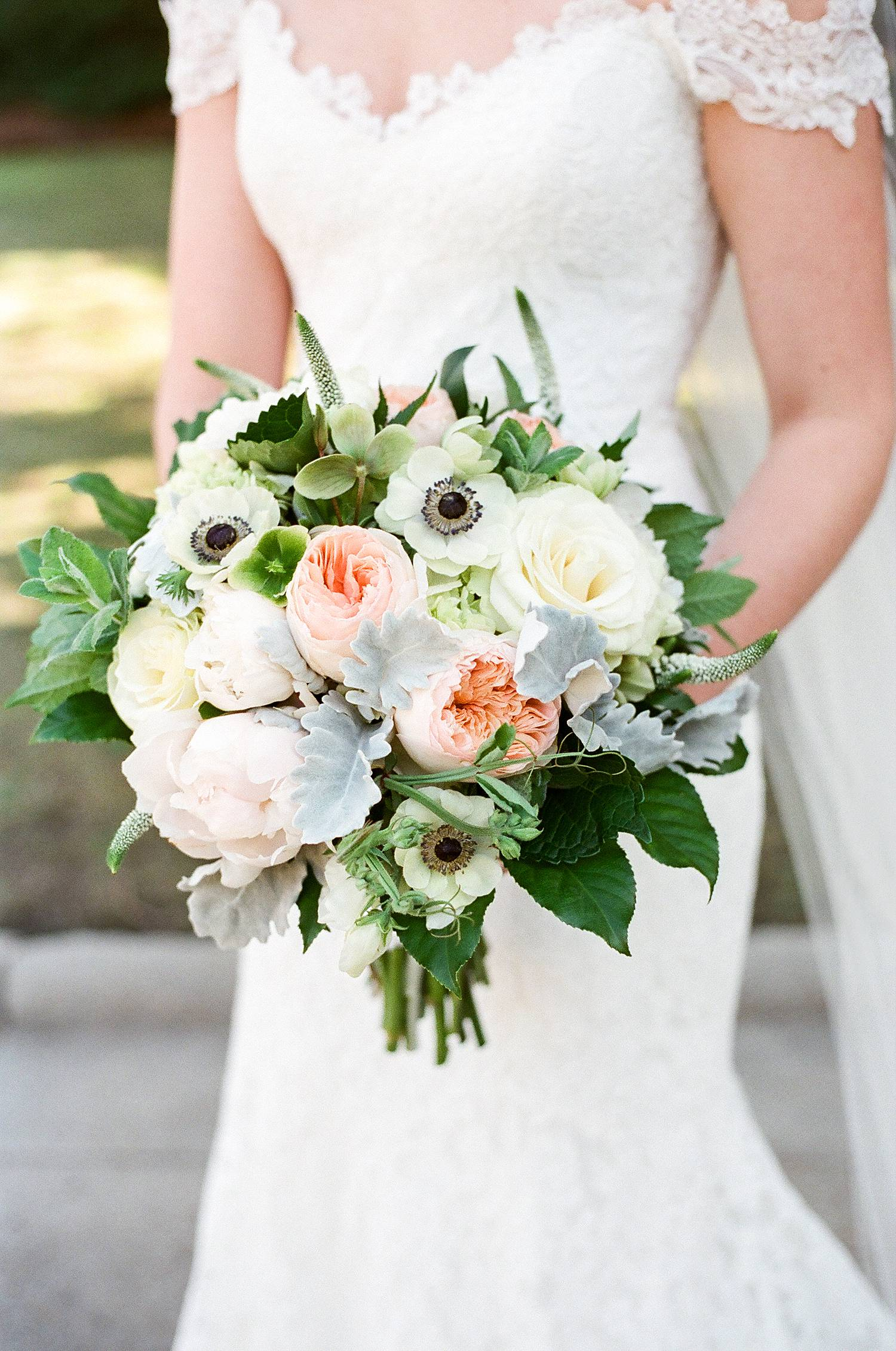 Featured Floral: Juliet Roses, Veronica Anenomes, Dusty Miller, Peonies, Hellebores, Mint - Jesslynn + Scott, River Room at St. Paul's, Ashley Seawell Photography
