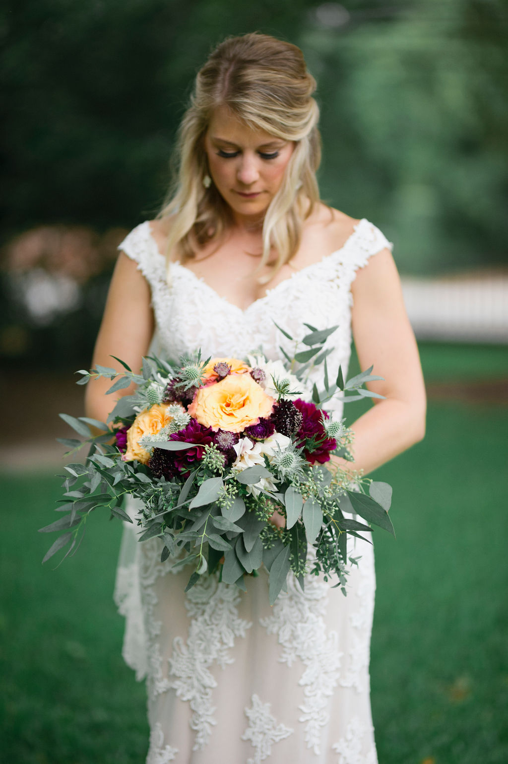 Featured Floral: Free Spirit Roses, Burgundy & Cafe Au Lait Dahlias, Thistle, Eucalyptus, scabiosa, Astrantia - Jamie + Adam, Private Home, Laura Fulmer Photography