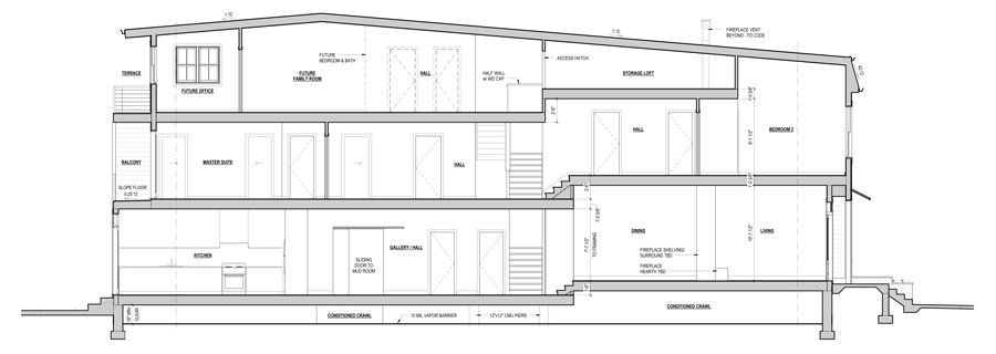 A cross-section of the house shows how the Tesauros squeezed three floors into their narrow lot to maximize living space.