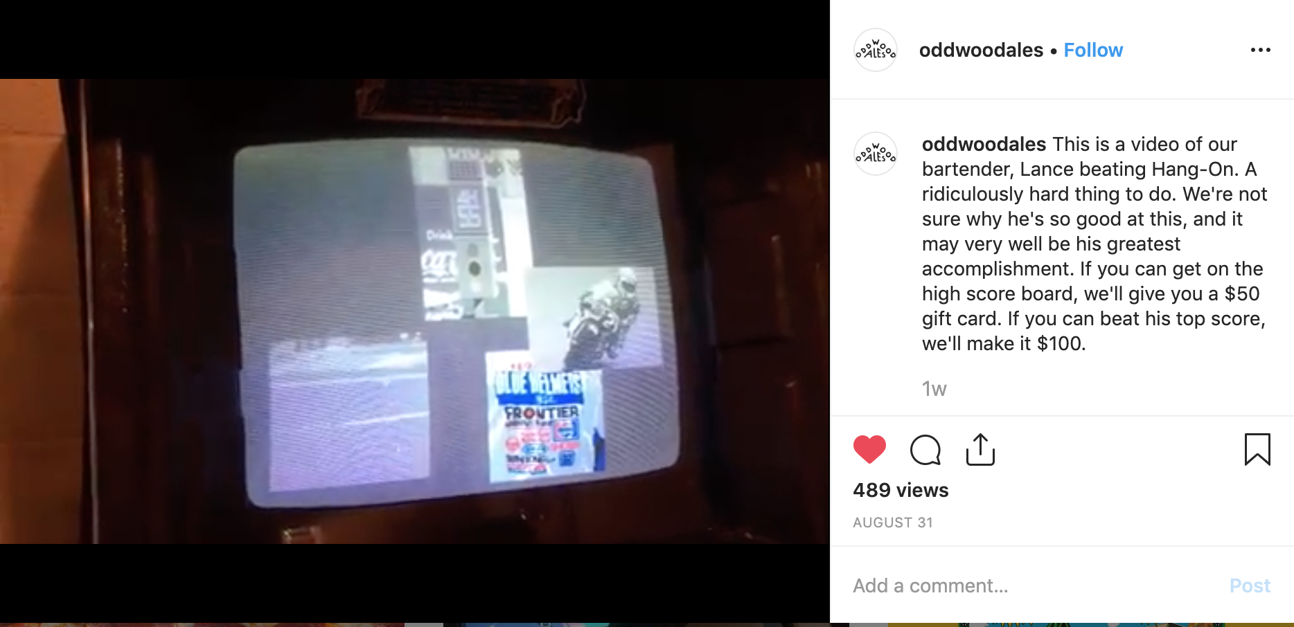 Instagram video posted by Oddwood Ales 8/31/19 .
