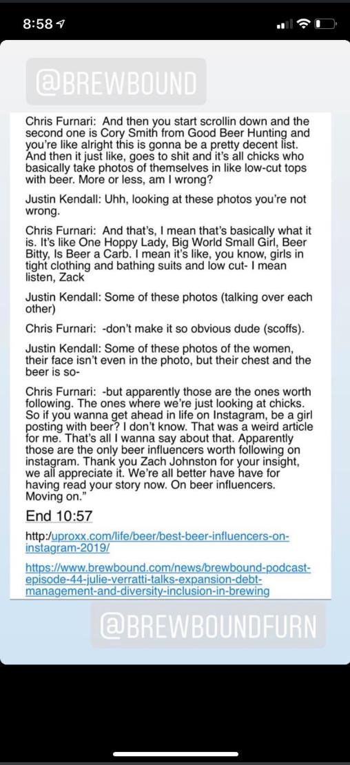 Exclusion in the beer industry. Transcribed excerpt via  Worst Beer Blog .