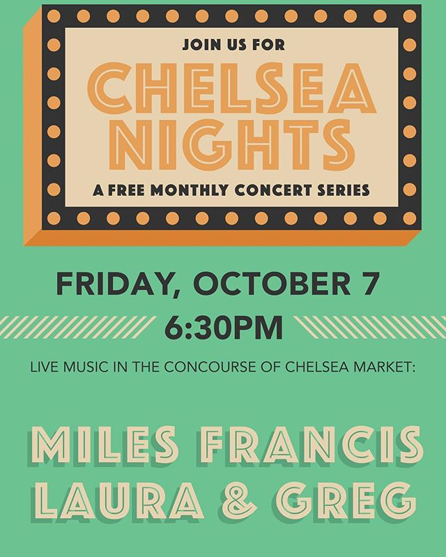 Playing a free show next Friday (10/07) at Chelsea Markets with Miles Francis 6:30pm start! #freeshow #lauraandgreg #nyc #allages #milesfrancis