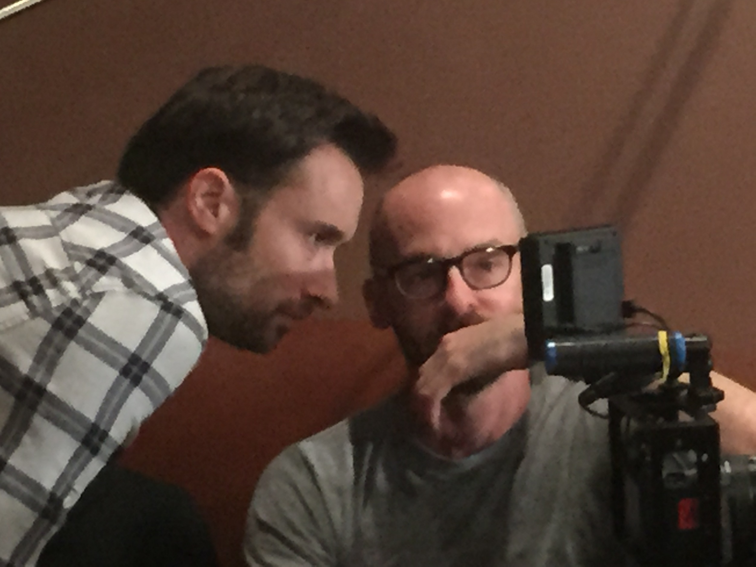 Director and Producer, Matt Mercer, reviews a scene with Cinematographer Patrick McGinley