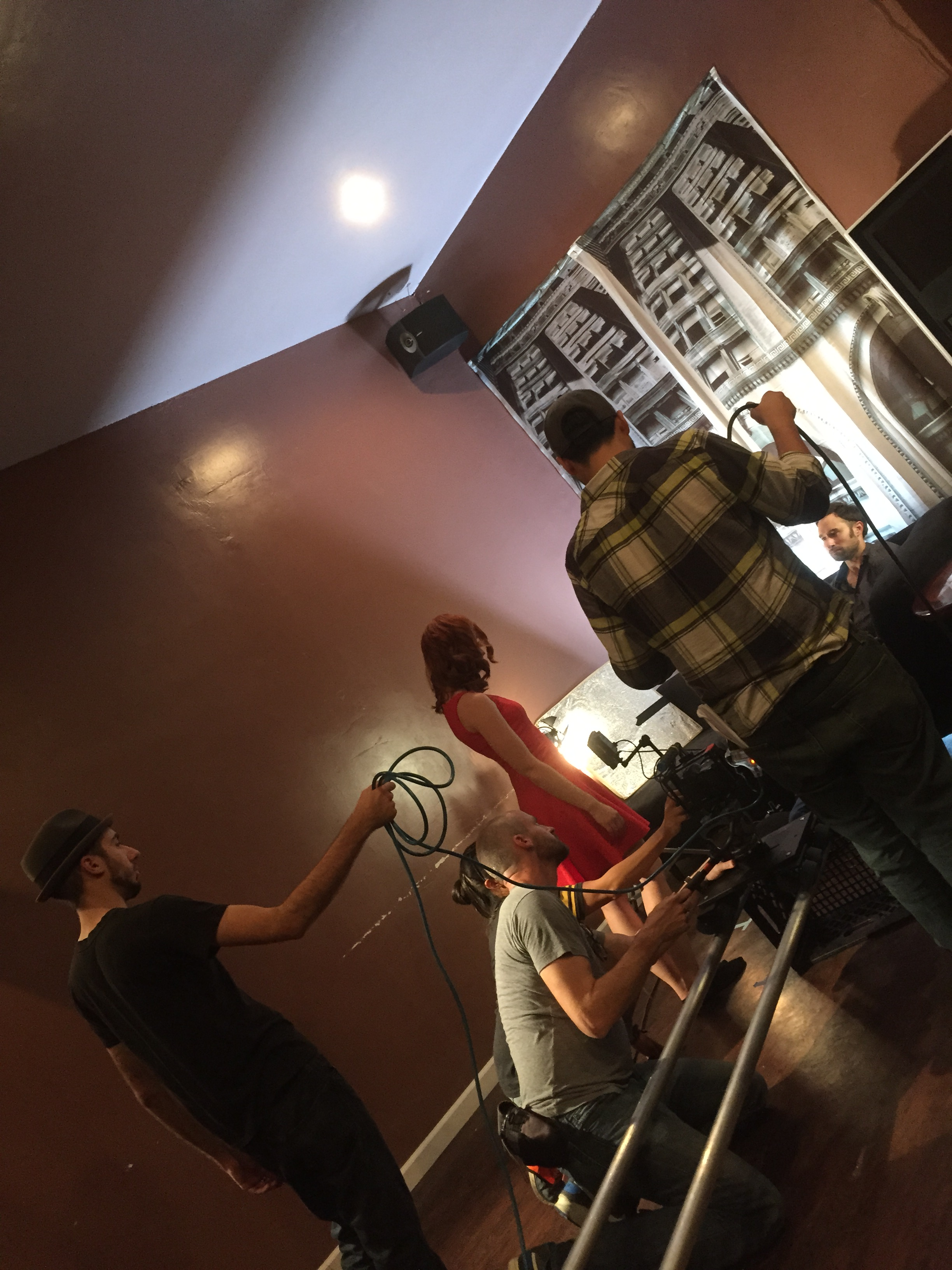 Cinematographer Patrick McGinley films a dolly shot with Assistant Directors Gabe Arredondo and Jose Luis Gonzalez.